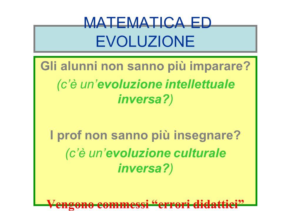 MATEMATICA ED EVOLUZIONE