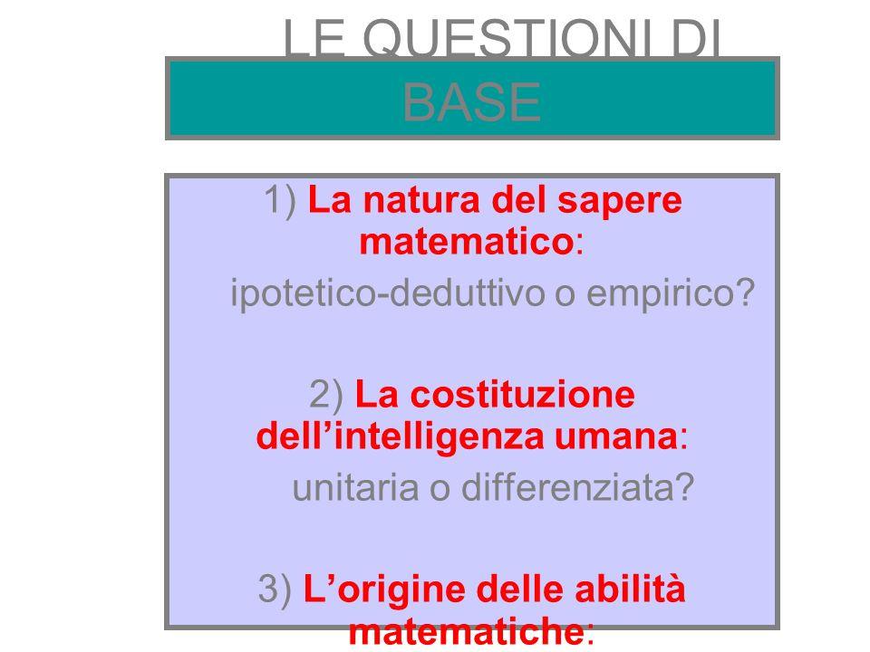 LE QUESTIONI DI BASE 1) La natura del sapere matematico: