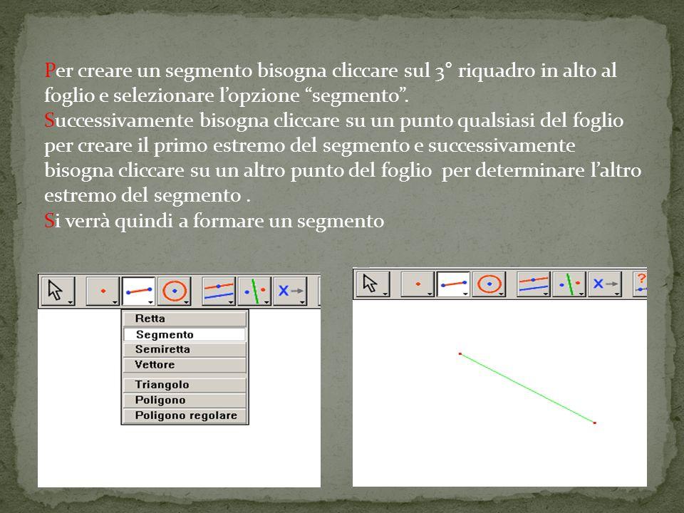 Per creare un segmento bisogna cliccare sul 3° riquadro in alto al foglio e selezionare l'opzione segmento .