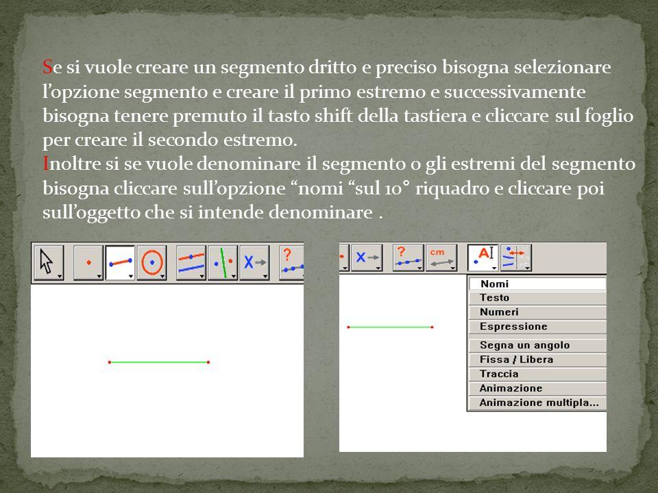 Se si vuole creare un segmento dritto e preciso bisogna selezionare l'opzione segmento e creare il primo estremo e successivamente bisogna tenere premuto il tasto shift della tastiera e cliccare sul foglio per creare il secondo estremo.