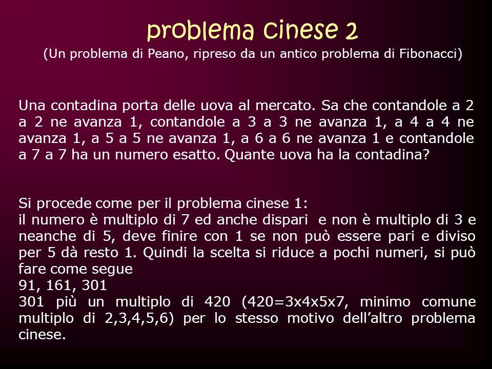 (Un problema di Peano, ripreso da un antico problema di Fibonacci)