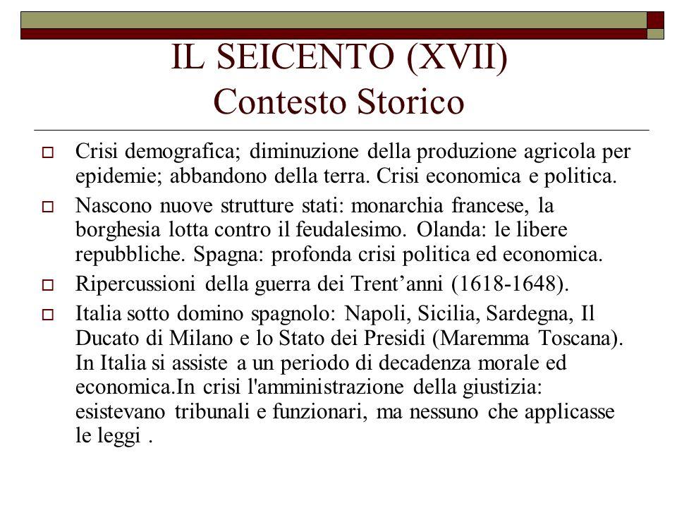 IL SEICENTO (XVII) Contesto Storico