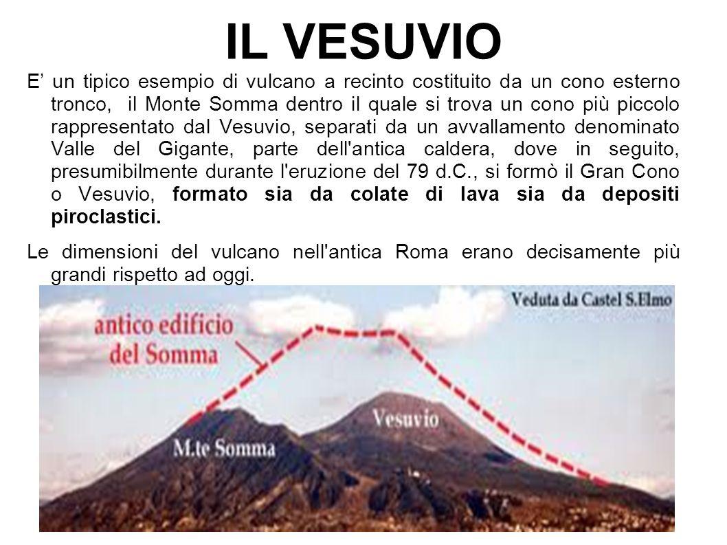 E' un tipico esempio di vulcano a recinto costituito da un cono esterno tronco, il Monte Somma dentro il quale si trova un cono più piccolo rappresentato dal Vesuvio, separati da un avvallamento denominato Valle del Gigante, parte dell antica caldera, dove in seguito, presumibilmente durante l eruzione del 79 d.C., si formò il Gran Cono o Vesuvio, formato sia da colate di lava sia da depositi piroclastici.