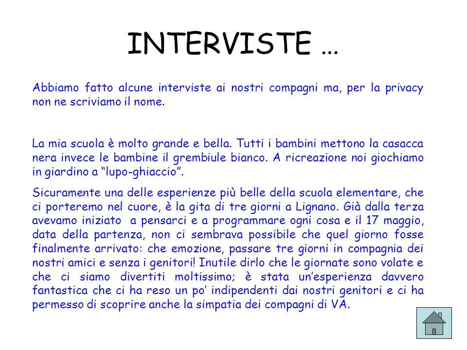 INTERVISTE … Abbiamo fatto alcune interviste ai nostri compagni ma, per la privacy non ne scriviamo il nome.