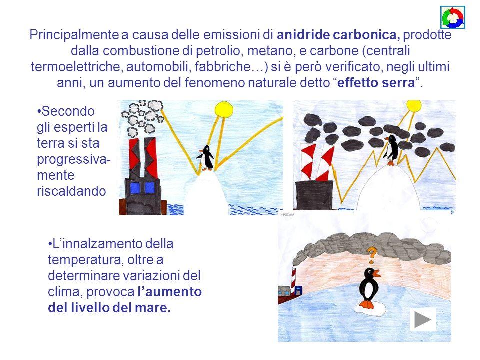 Principalmente a causa delle emissioni di anidride carbonica, prodotte dalla combustione di petrolio, metano, e carbone (centrali termoelettriche, automobili, fabbriche…) si è però verificato, negli ultimi anni, un aumento del fenomeno naturale detto effetto serra .