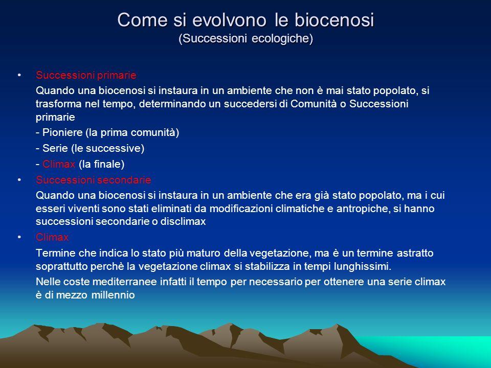 Come si evolvono le biocenosi (Successioni ecologiche)