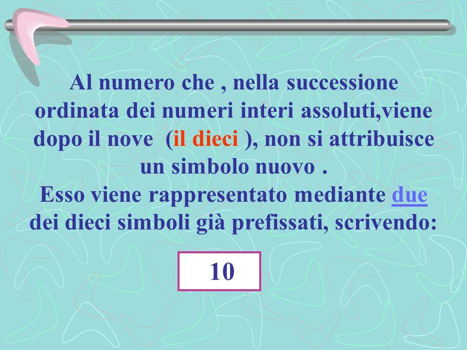 Al numero che , nella successione ordinata dei numeri interi assoluti,viene dopo il nove (il dieci ), non si attribuisce un simbolo nuovo .