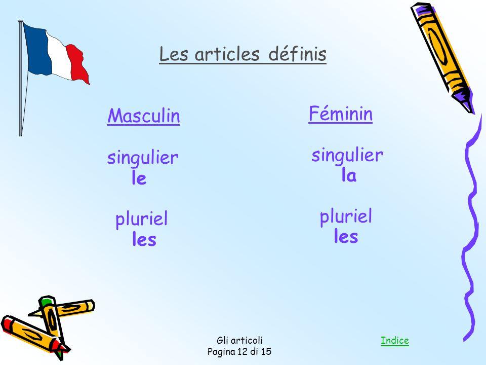 Masculin Les articles définis Féminin singulier singulier le la