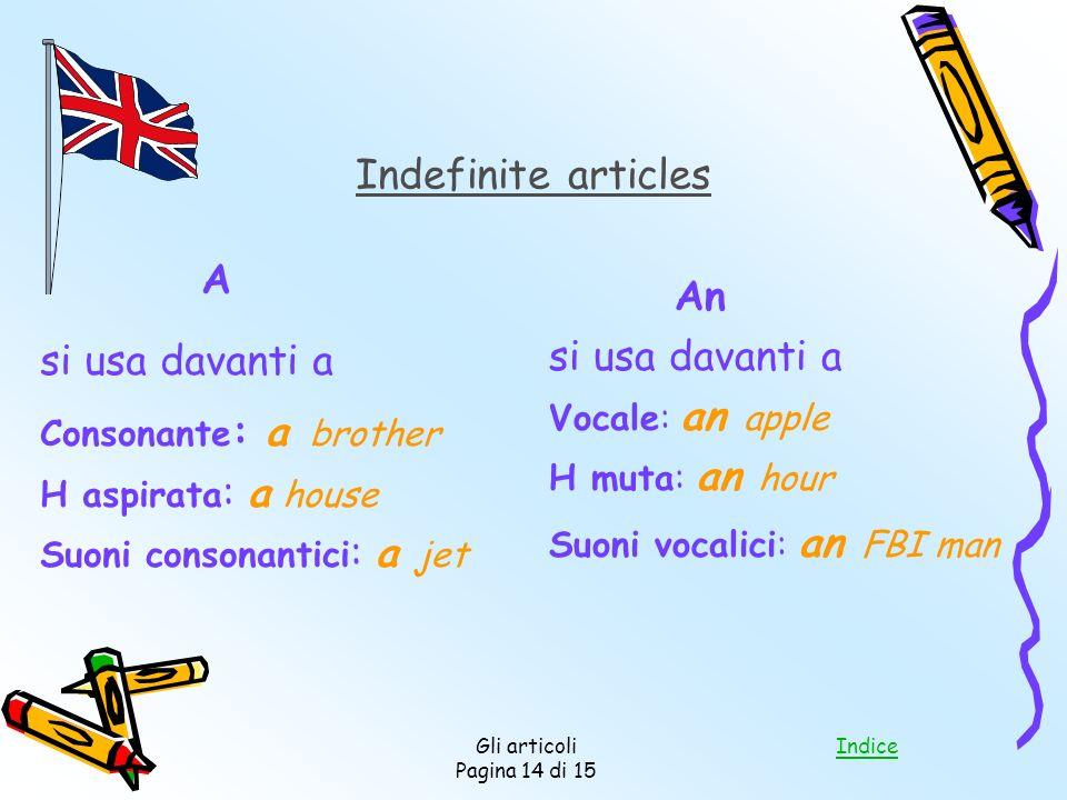 Indefinite articles A An si usa davanti a si usa davanti a