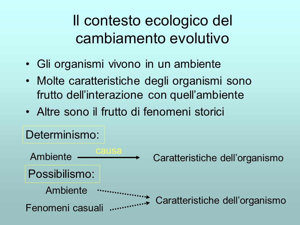Il contesto ecologico del cambiamento evolutivo