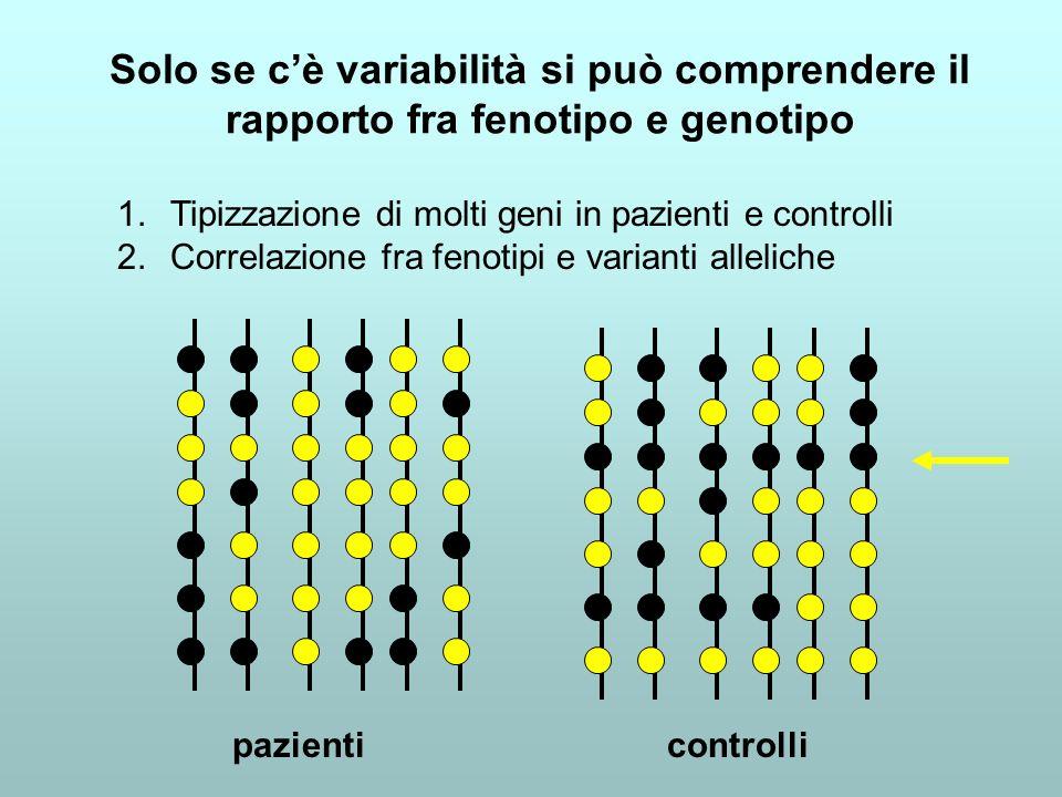 Solo se c'è variabilità si può comprendere il rapporto fra fenotipo e genotipo