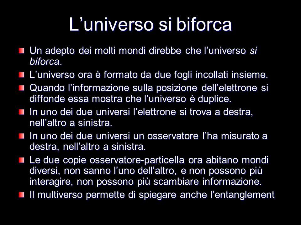 L'universo si biforca Un adepto dei molti mondi direbbe che l'universo si biforca. L'universo ora è formato da due fogli incollati insieme.