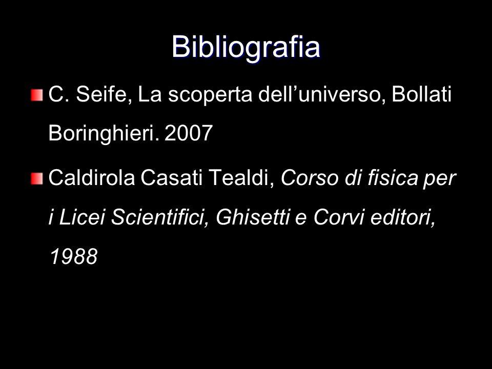 Bibliografia C. Seife, La scoperta dell'universo, Bollati Boringhieri. 2007.
