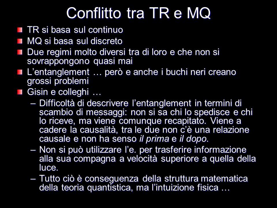 Conflitto tra TR e MQ TR si basa sul continuo MQ si basa sul discreto