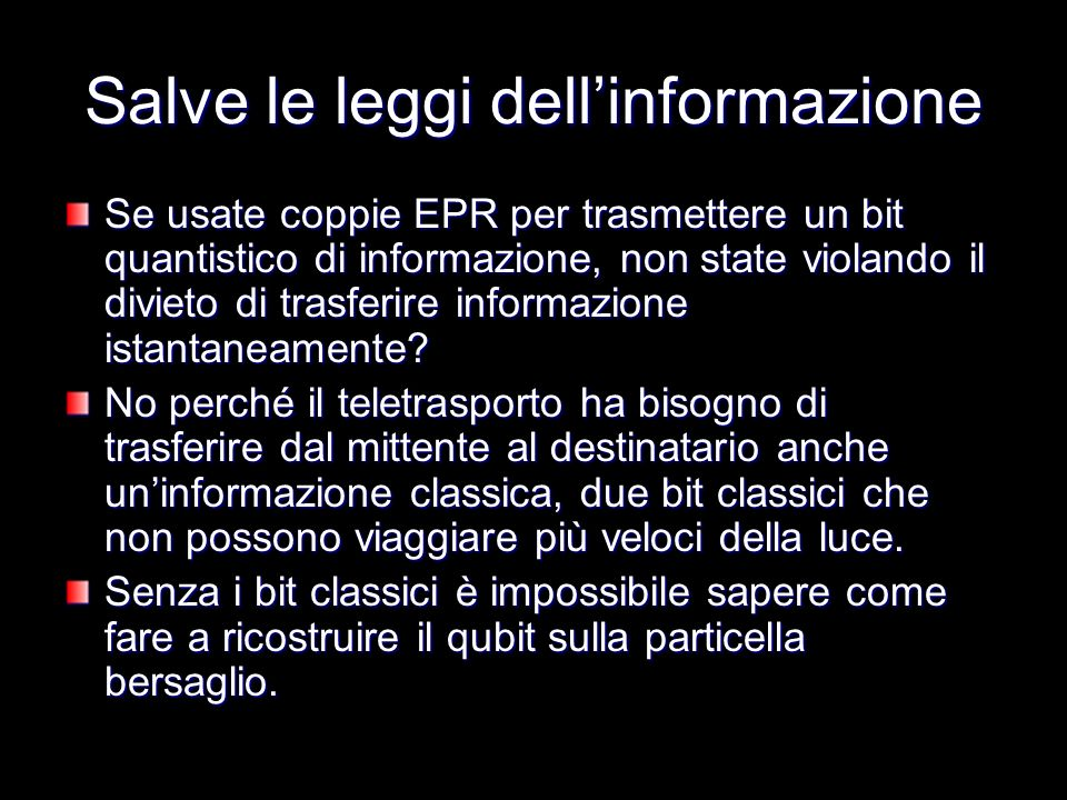 Salve le leggi dell'informazione