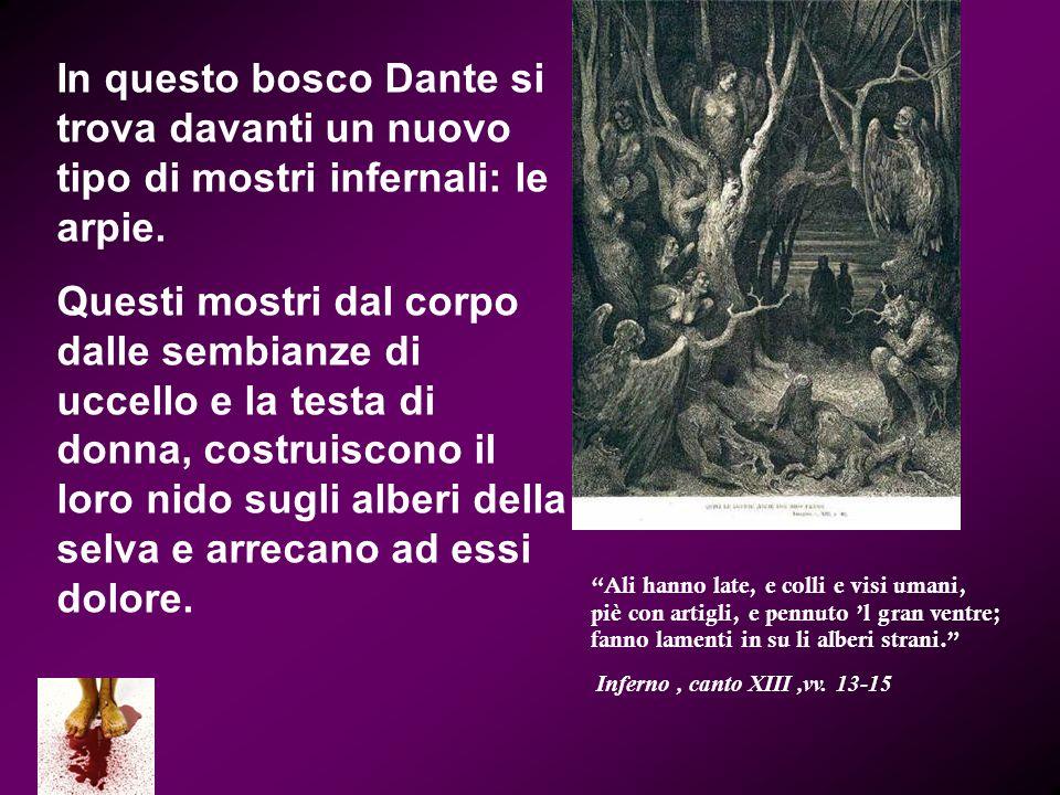 In questo bosco Dante si trova davanti un nuovo tipo di mostri infernali: le arpie.