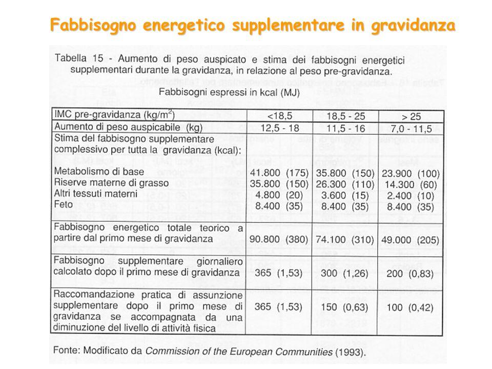 Fabbisogno energetico supplementare in gravidanza