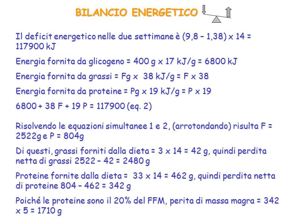 BILANCIO ENERGETICO Il deficit energetico nelle due settimane è (9,8 – 1,38) x 14 = 117900 kJ.
