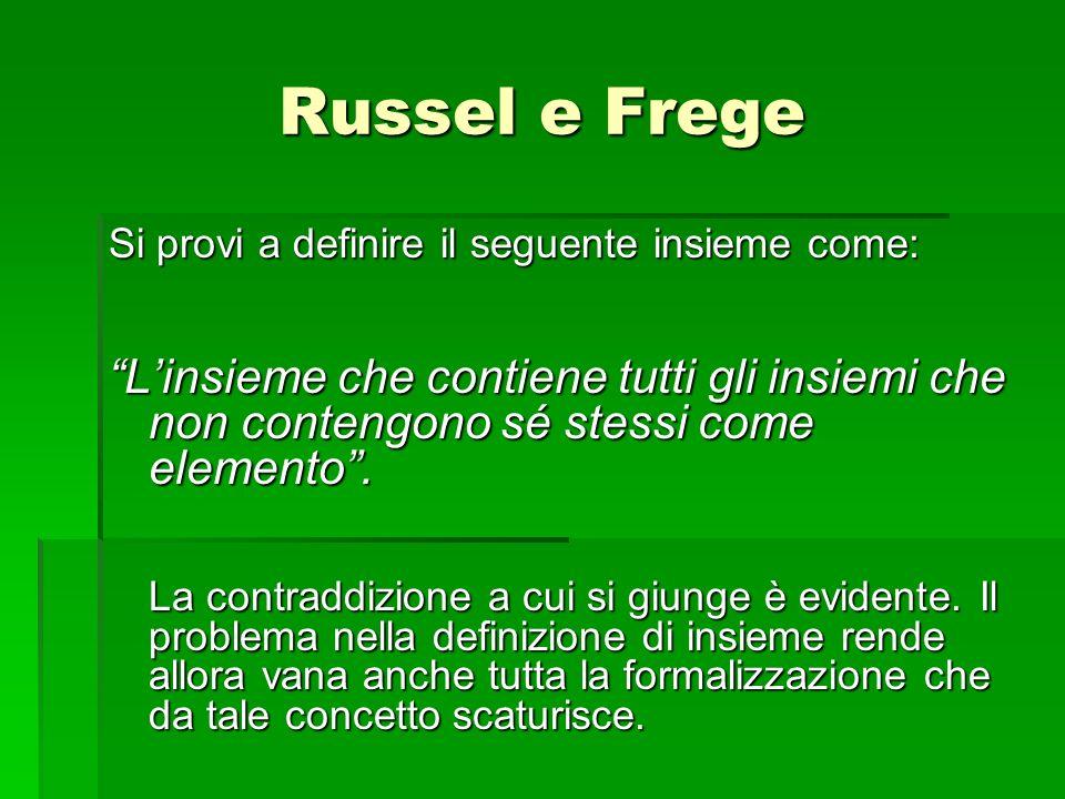 Russel e Frege Si provi a definire il seguente insieme come: