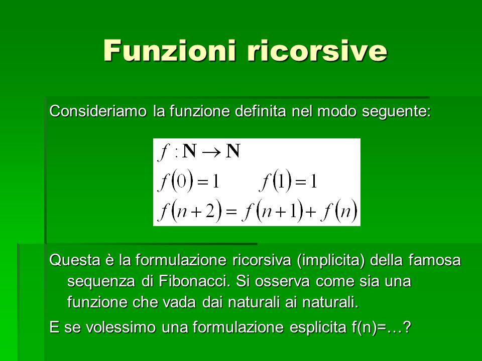 Funzioni ricorsive Consideriamo la funzione definita nel modo seguente: