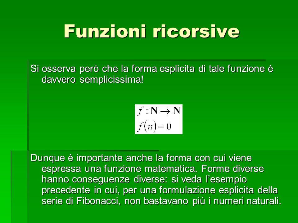 Funzioni ricorsive Si osserva però che la forma esplicita di tale funzione è davvero semplicissima!