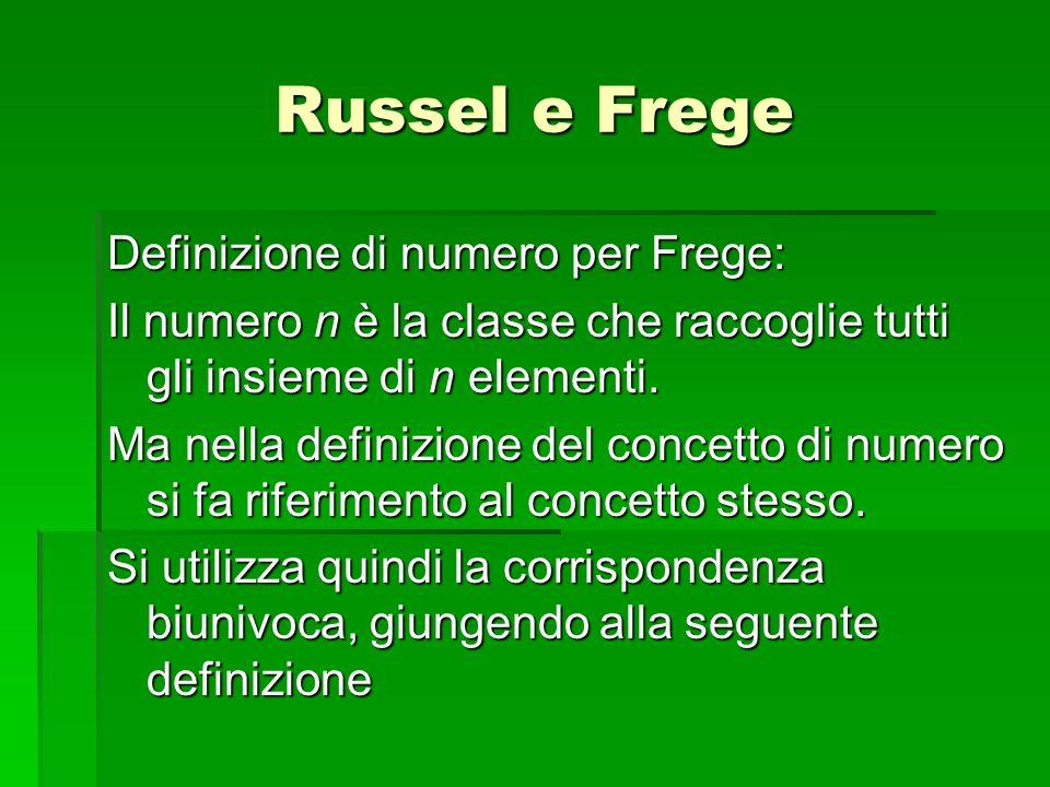 Russel e Frege Definizione di numero per Frege: