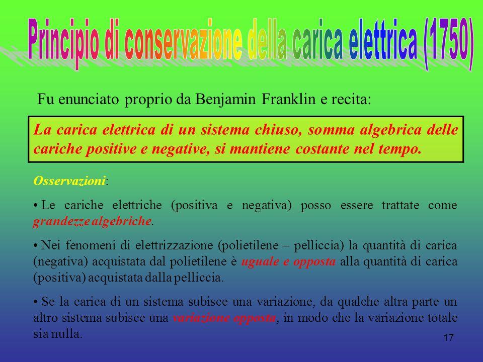 Principio di conservazione della carica elettrica (1750)
