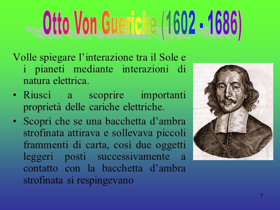 Otto Von Guericke (1602 - 1686) Volle spiegare l'interazione tra il Sole e i pianeti mediante interazioni di natura elettrica.