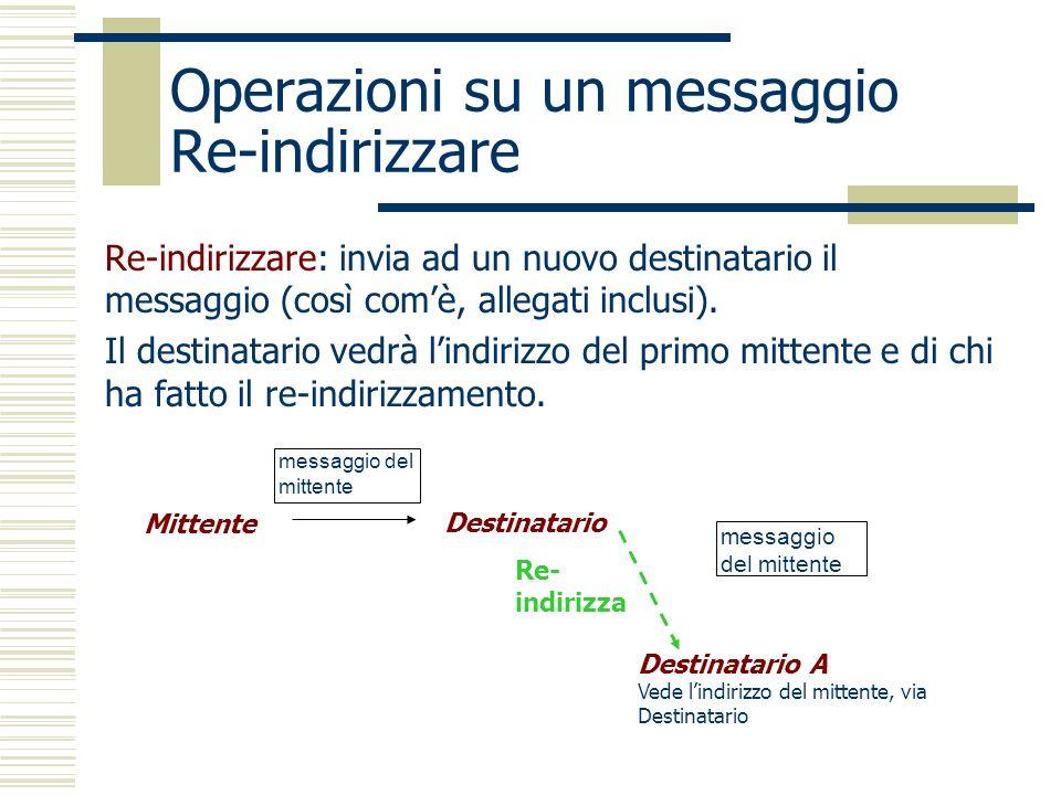 Operazioni su un messaggio Re-indirizzare