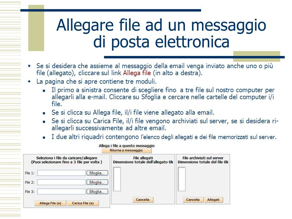 Allegare file ad un messaggio di posta elettronica