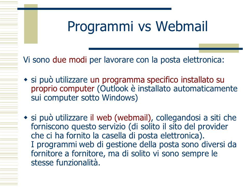 Programmi vs Webmail Vi sono due modi per lavorare con la posta elettronica:
