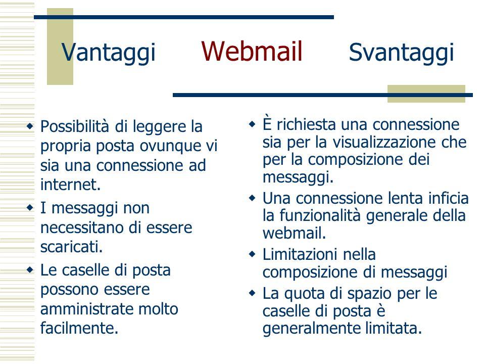 Vantaggi Webmail Svantaggi