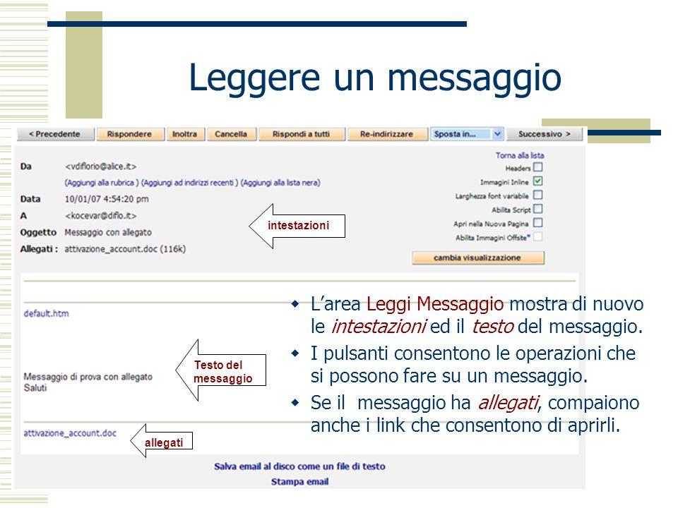 Leggere un messaggio intestazioni. L'area Leggi Messaggio mostra di nuovo le intestazioni ed il testo del messaggio.