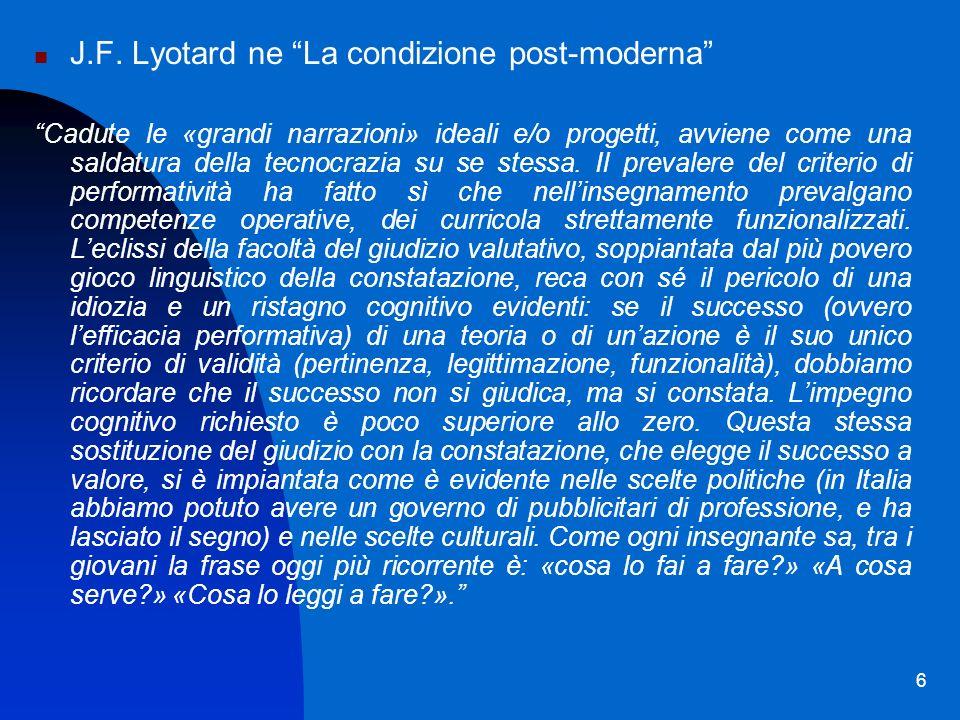 J.F. Lyotard ne La condizione post-moderna
