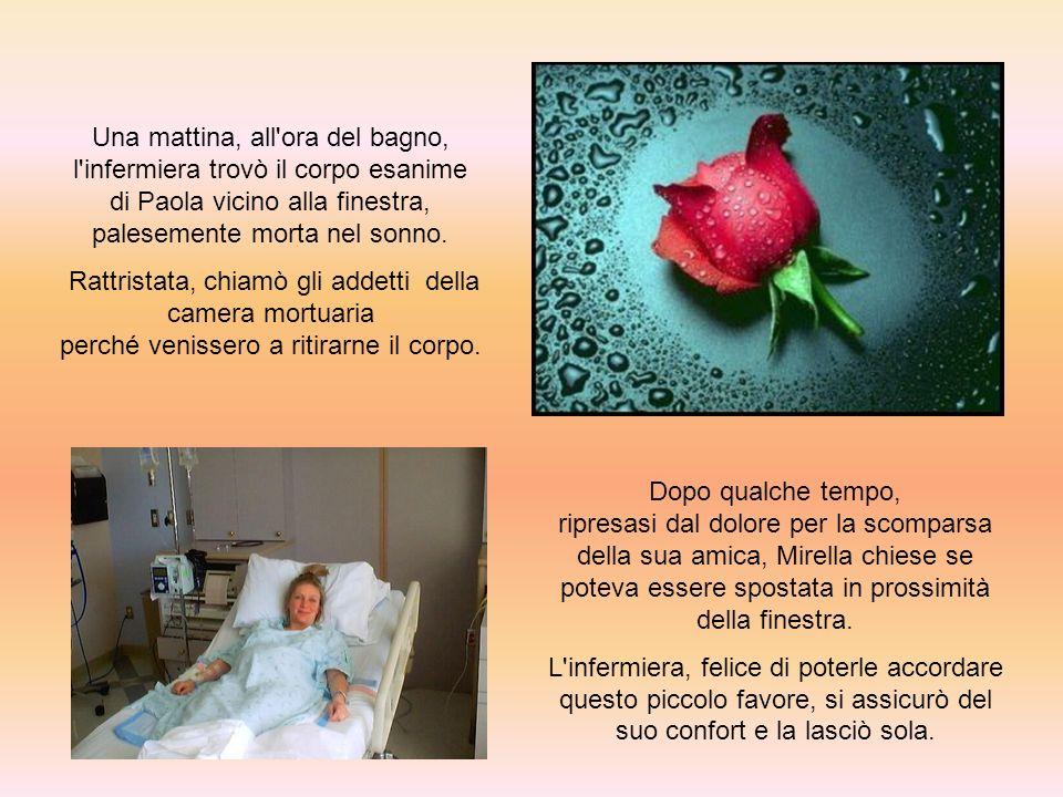 Una mattina, all ora del bagno, l infermiera trovò il corpo esanime di Paola vicino alla finestra, palesemente morta nel sonno.