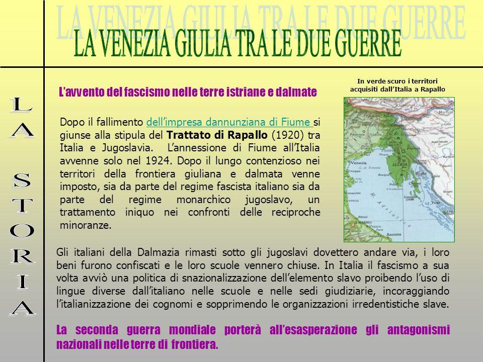 In verde scuro i territori acquisiti dall'Italia a Rapallo