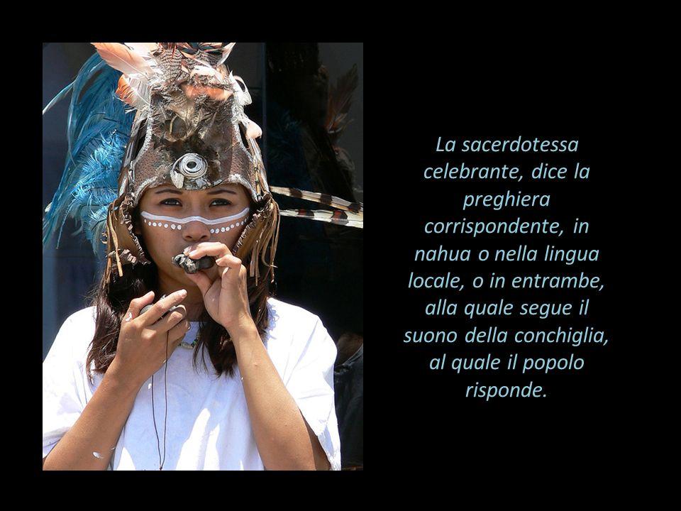 La sacerdotessa celebrante, dice la preghiera corrispondente, in nahua o nella lingua locale, o in entrambe, alla quale segue il suono della conchiglia, al quale il popolo risponde.