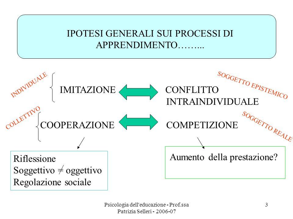 IPOTESI GENERALI SUI PROCESSI DI APPRENDIMENTO……...