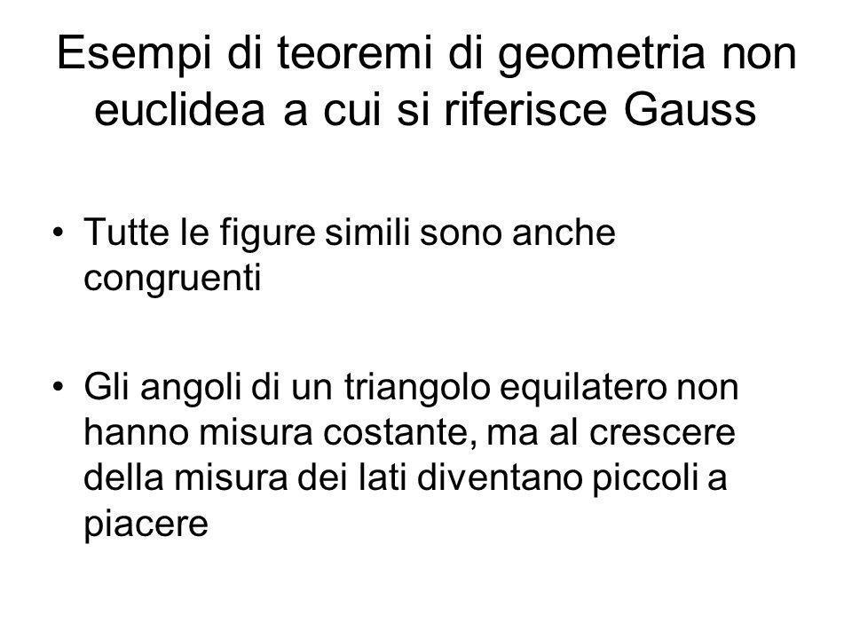 Esempi di teoremi di geometria non euclidea a cui si riferisce Gauss