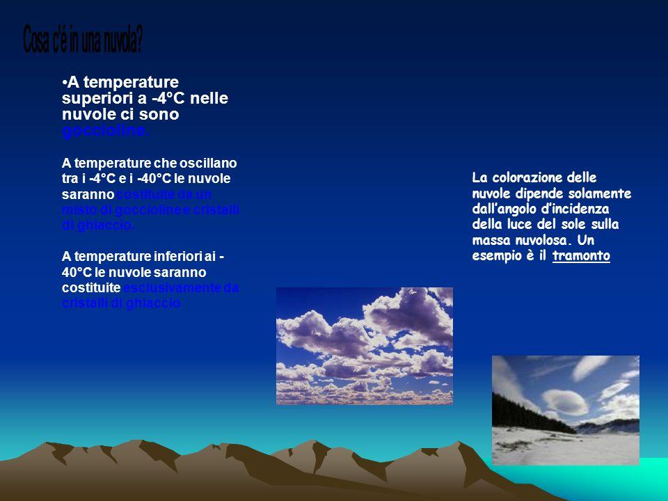 Cosa c é in una nuvola A temperature superiori a -4°C nelle nuvole ci sono goccioline.