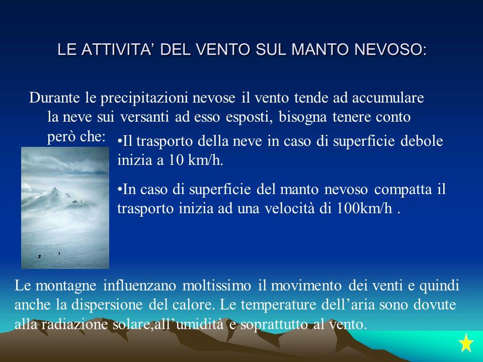 LE ATTIVITA' DEL VENTO SUL MANTO NEVOSO: