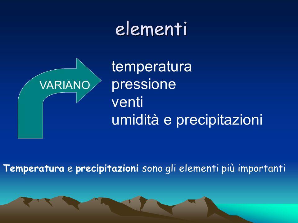 elementi temperatura pressione venti umidità e precipitazioni VARIANO