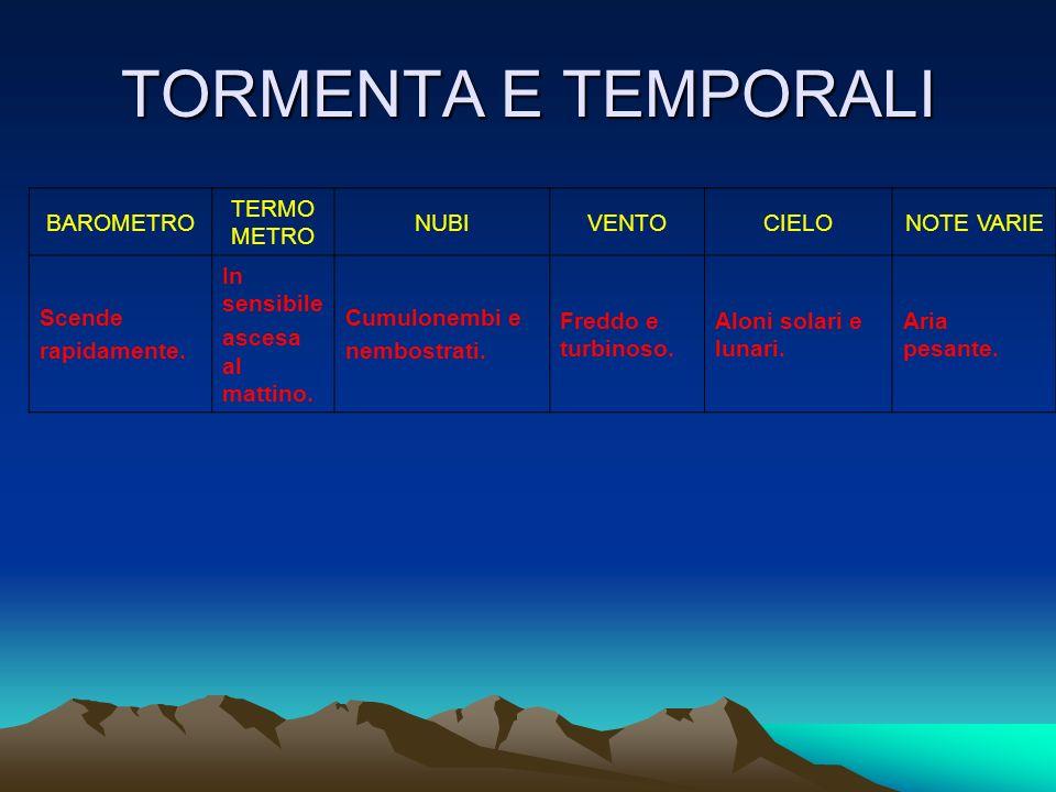 TORMENTA E TEMPORALI BAROMETRO TERMOMETRO NUBI VENTO CIELO NOTE VARIE