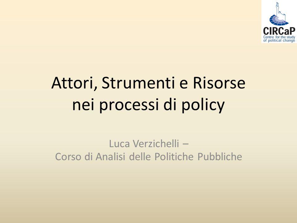 Attori, Strumenti e Risorse nei processi di policy