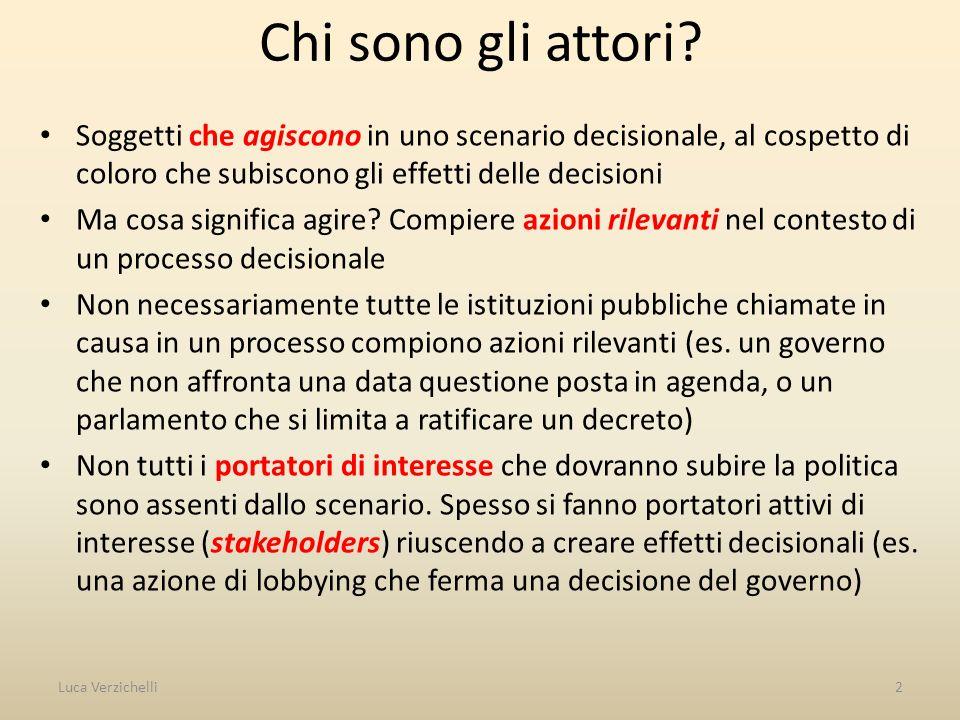 Chi sono gli attori Soggetti che agiscono in uno scenario decisionale, al cospetto di coloro che subiscono gli effetti delle decisioni.