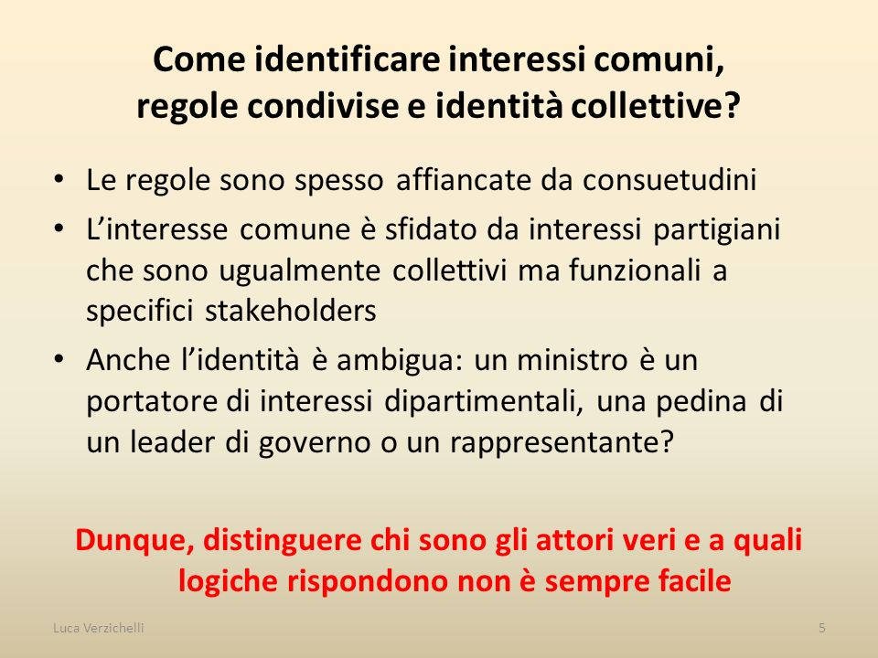 Come identificare interessi comuni, regole condivise e identità collettive