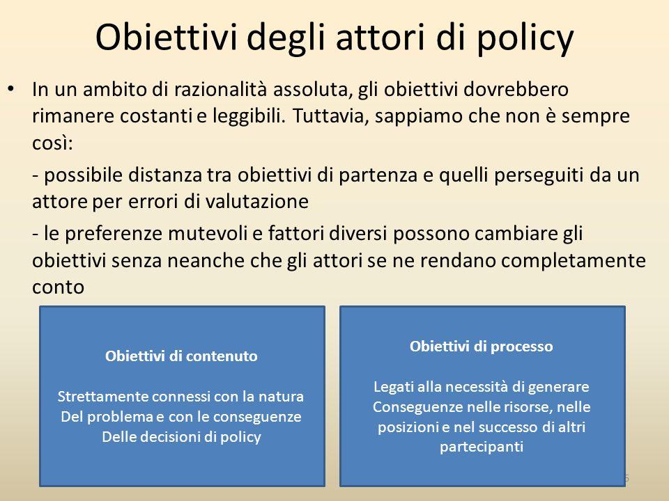 Obiettivi degli attori di policy
