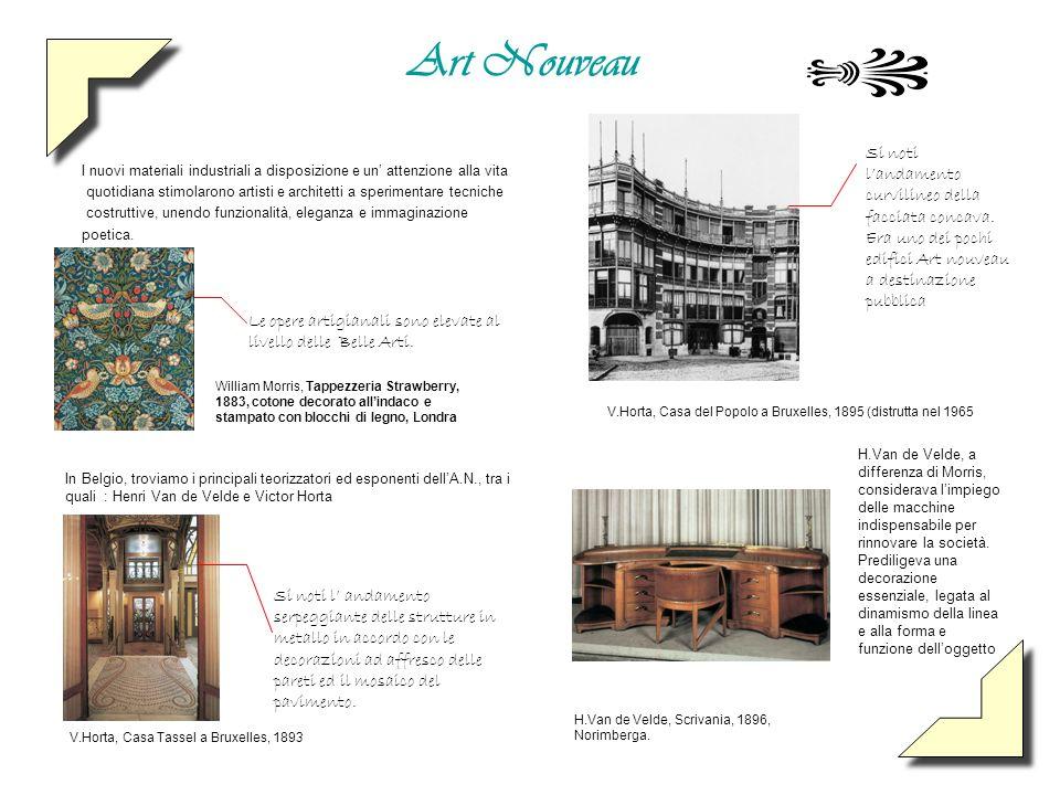 Art Nouveau Si noti l'andamento curvilineo della facciata concava. Era uno dei pochi edifici Art nouveau a destinazione pubblica.