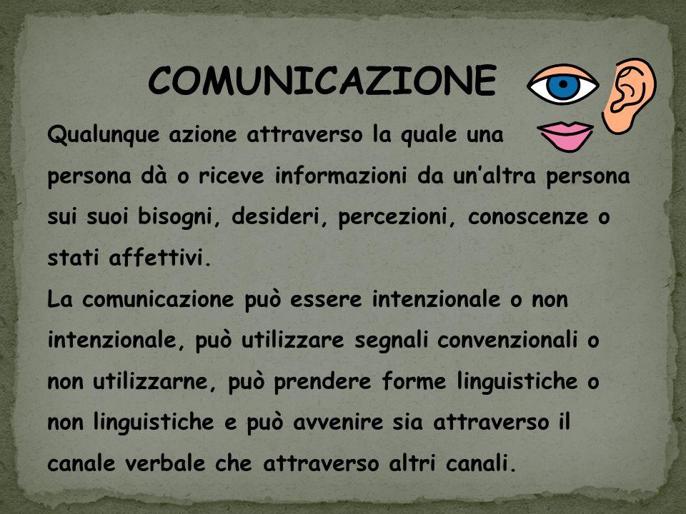 COMUNICAZIONE Qualunque azione attraverso la quale una