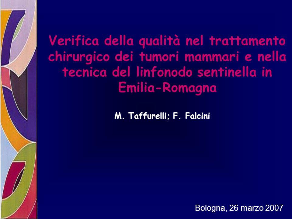 Verifica della qualità nel trattamento chirurgico dei tumori mammari e nella tecnica del linfonodo sentinella in Emilia-Romagna